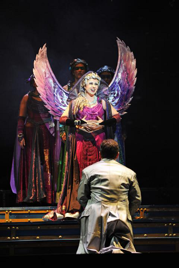 Lindsay Russell as The Queen of the Night announces her presence to David Margulis as Tamino [Photo by Tim Trumble]
