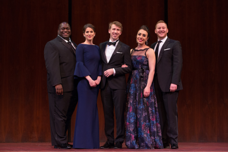 2015 National Council Winners: (from l to r) Reginald Smith, Jr., Virginie Verrez, Joseph Dennis, Marina Costa-Jackson, Nicholas Brownlee [Photo courtesy of The Metropolitan Opera]