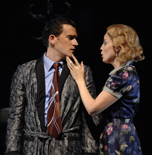 Morgan Smith (as Ted) and Patricia Risley (as Kara). (Photo credit: Ellen Appel)