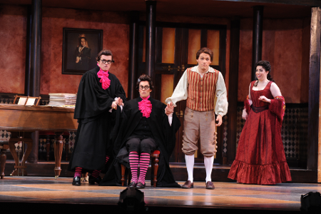 From left, Kirk Dougherty (Almaviva), Colin Ramsey (Basilio), Brian James Myer (Figaro), Renée Rapier (Rosina) [Photo by Pat Kirk]