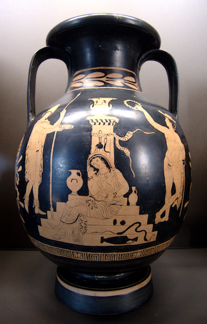 Orestes, Electra and Hermes at the tomb of Agamemnon, lucanian red-figure pelike, c. 380-370 BC, Louvre (K 544) [Source: Wikipedia]