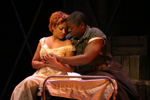 Indira Mahajan as Bess and Alfred Walker as Porgy  (Porgy and Bess, LA Opera)