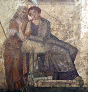 Phaedra tells her slave about Hippolytus (from Pompeii)