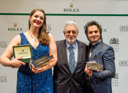 Placido Domingo, Lise Davidsen and Ioan Hotea [Photo by Alastair Muir]