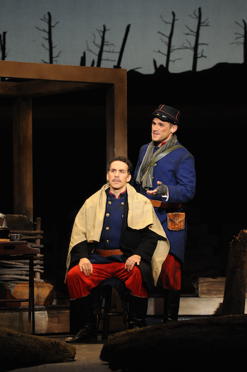 Brian James Myer as Ponchel and Ricardo Rivera as Lt. Audebert [Photo by Pat Kirk]