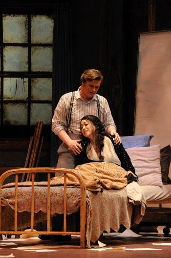 Kirk Dougherty (Rodolfo) and Sylvia Lee (Mimi) [Photo by Pat Kirk]