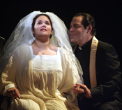Pictured: Don Marco (Philip Cokorinos) with Annina (Christina Martos) as she takes the veil in Central City Opera's The Saint of Bleecker Street. Photo by Mark Kiryluk