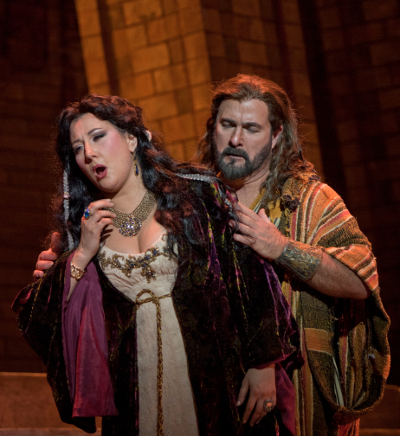 Above: Nadia Krasteva is Delilah and Clifton Forbis as Samson  [Photo by J. Katarzyna Woronowicz. courtesy of San Diego Opera]