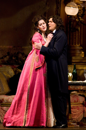 Anja Harteros as Violetta and Massimo Giordano as Alfredo [Photo by Marty Sohl/Metropolitan Opera]