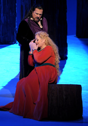 Deborah Voigt and Clifton Forbis sing the title roles in <em>Tristan und Isolde</em> [Photo by Dan Rest/Lyric Opera of Chicago]