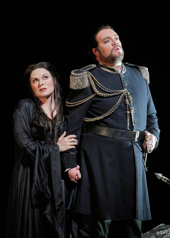 Anna Caterina Antonacci as Cassandra, Brian Mulligan as Coroebus [Photo by Corey Weaver, courtesy of San Francisco Opera]