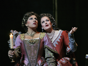 Indian-born mezzo-soprano Priti Gandhi is Inez and Italian soprano Paoletta Marrocu is Leonora in San Diego Opera's production of Verdi's Il trovatore. Photo © Ken Howard