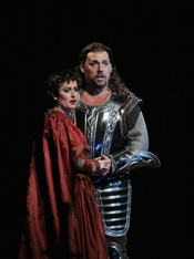 Italian soprano Paoletta Marrocu (Leonora) and Argentinean tenor Darío Volonté (Manrico) in San Diego Opera's production of Verdi's Il trovatore. Photo © Ken Howard