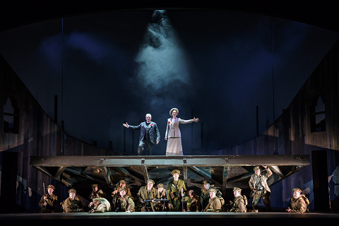 WNO In Parenthesis. Peter Coleman-Wright (Bard of Britannia), Alexandra Deshorties (Bard of Germania) and Company. Photo credit - Bill Cooper 942.png
