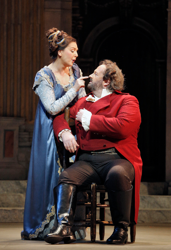 Alexia Voulgaridou as Tosca and Gwyn Hughes Jones as Cavaradossi [Photo by Cory Weaver]