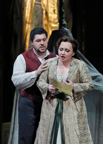 Luca Salsi as Enrico and Albina Shagimuratova as Lucia [Photo by Cory Weaver/Metropolitan Opera]