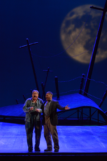 Michael Robert Hendrick as Lennie and Gregory Dahl as George [Photo by R. Tinker]