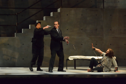 leana Montalbetti as Fidelio, Kristopher Irmiter as Pizarro, and David Pomeroy as Florestan [Photo by R. Tinker]
