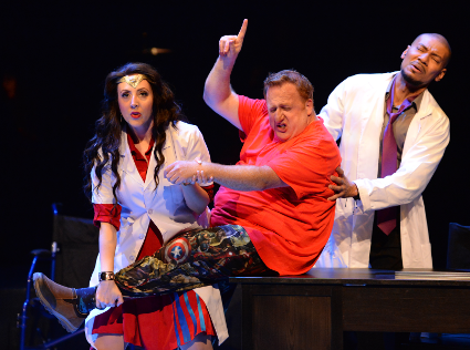 Cedric Berry (Doc Oswald), Jamie Chamberlin (Nurse Gwen E. Vere), and Marc Molomot (Arthur King) [Photo by Keith Ian Polakoff]