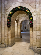 Decorated archway, The Cloisters Museum and Gardens, New York.