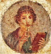 Sappho as represented in a fresco in Pompeii