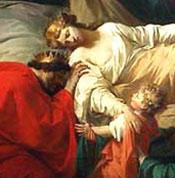 Detail from La Mort d'Alceste ou L'Héroïsme de l'amour conjugal by Pierre Peyron, 1785  (Musée du Louvre)