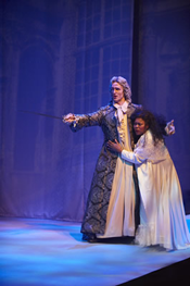 Andrew Stewart as Il Commendatore and Yannick-Muriel Noah as Donna Anna in the COC's Ensemble Studio production of Don Giovanni. Photo © 2008 Michael Cooper