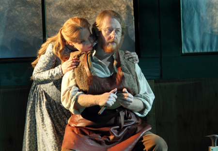 Rachel Nicholls as Eva and Iain Paterson as Hans Sachs [Photo by Catherine Ashmore]
