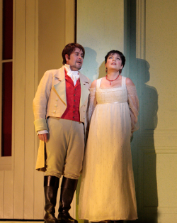 Vsevolod Grivnov as Lensky and Ekaterina Semenchuk as Olga [Photo by Robert Millard for LA Opera]