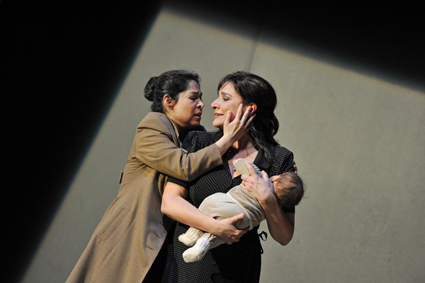 Rebeca Olvera as Adalgisa, Cecilia Bartoli as Norma [Photo copyright Hans Jörg Michel, courtesy of the Salzburg Festival]