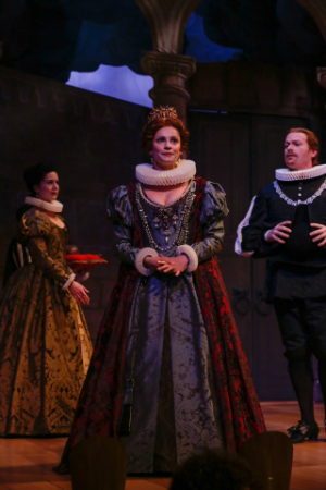 Ulrike Hofbauer as Almira and cast [Photo by Kathy Wittman courtesy of Boston Early Music Festival]