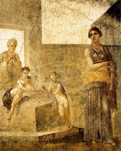 Medea (holding a sword) and her two children in front of Jason's home at Corinth (Pompeii wall painting).