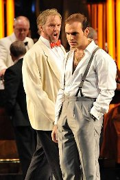 Anthony Michael-Moore (Rigoletto) and Michael Fabiano (Duke of Mantua) [Photo by Chris Christodoulou courtesy of English National Opera]