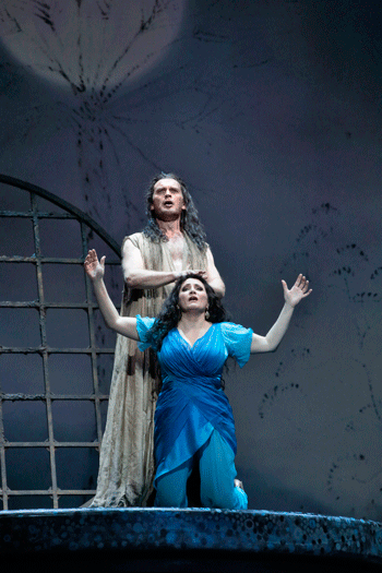Tomas Tomasson as John the Baptist and Patricia Racette as Salome [Photo by Ken Howard/LA Opera]
