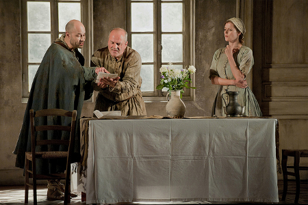 Christopher Purves as Protector, Bejun Mehta as Boy and Barbara Hannigan as Agnès  [Photo © 2012 ROH/Stephen Cummiskey]
