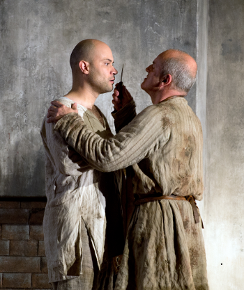 Bejun Mehta as Boy and Christopher Purves as The Protector [Photo by Ruth Walz courtesy of De Nederlandse Opera]